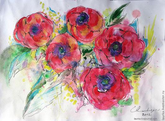 Картины цветов ручной работы. Ярмарка Мастеров - ручная работа. Купить Маки. Handmade. Ярко-красный, природа, лето, воздух