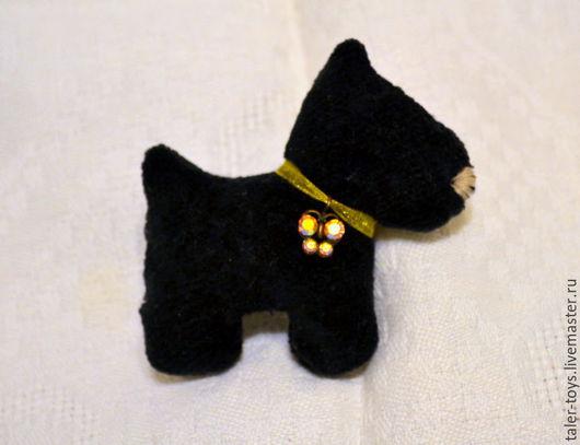 """Броши ручной работы. Ярмарка Мастеров - ручная работа. Купить Брошь текстильная """"Собачка"""". Handmade. Черный, собаки"""