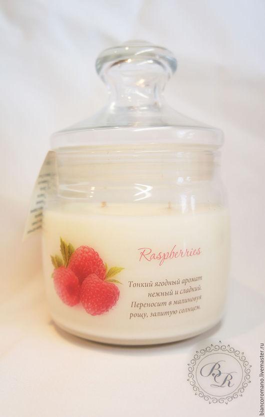 Соевая арома свеча Raspberry `Bianco Romano`