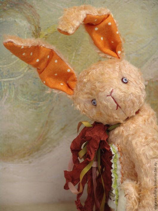 """Мишки Тедди ручной работы. Ярмарка Мастеров - ручная работа. Купить Заяц Морковь из серии """"Зайчики в трамвайчике"""". Handmade. Кремовый"""