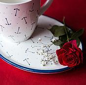 Посуда handmade. Livemaster - original item Maritime classic. Mug handmade ceramics. Handmade.