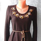 Одежда ручной работы. Ярмарка Мастеров - ручная работа платье тёплое вязаное Чайные розы. Handmade.