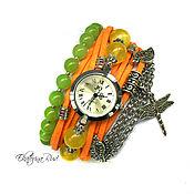 """Украшения ручной работы. Ярмарка Мастеров - ручная работа Часы наручные женские.  """"Беззаботное время"""" оранжевые часы, для лета. Handmade."""