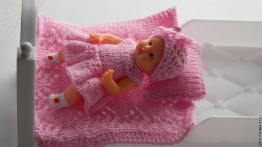 Одежда для кукол ручной работы. Ярмарка Мастеров - ручная работа. Купить Платьице и шапочка на мини куколку. Handmade. Бледно-розовый