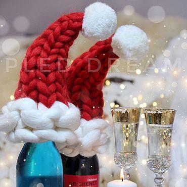 Для дома и интерьера ручной работы. Ярмарка Мастеров - ручная работа Новогодний декор стола Рождественский колпак Санта Клауса для бутылки. Handmade.