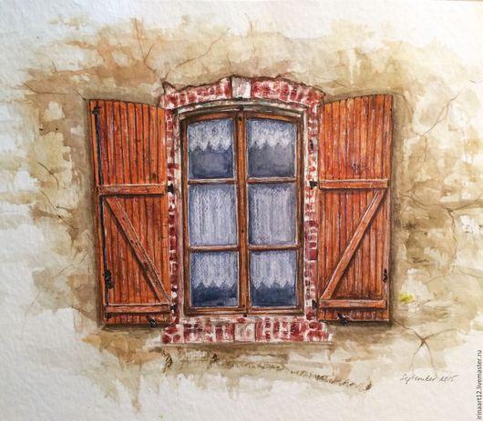 Город ручной работы. Ярмарка Мастеров - ручная работа. Купить Старое окно. Handmade. Разноцветный, окно, акварель, дом, винтаж