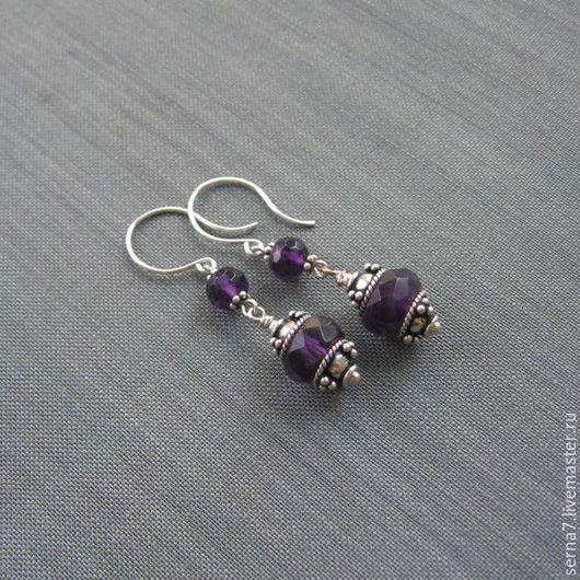 """Серьги ручной работы. Ярмарка Мастеров - ручная работа. Купить Серьги """"Royal purple"""". Handmade. Тёмно-фиолетовый, серебро Бали"""