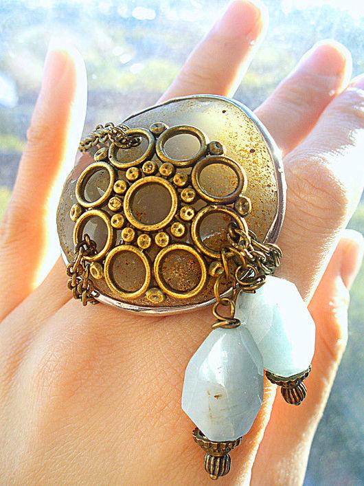 """Кольца ручной работы. Ярмарка Мастеров - ручная работа. Купить Кольцо """" Отражение"""". Handmade. Крупное украшение, золотой"""