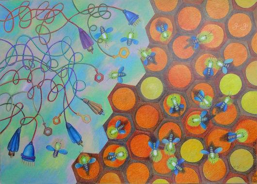 Фантазийные сюжеты ручной работы. Ярмарка Мастеров - ручная работа. Купить Улей. Handmade. Оранжевый, цветы, золотой, техника, желтый