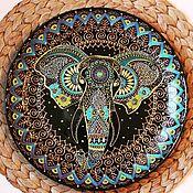 """Посуда ручной работы. Ярмарка Мастеров - ручная работа Декоративная тарелка """"Индийский слон"""". Handmade."""