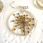 Украшения handmade. Livemaster - original item Transparent Earrings with an Annual Plant of the Umbrella family Dill Eco. Handmade.