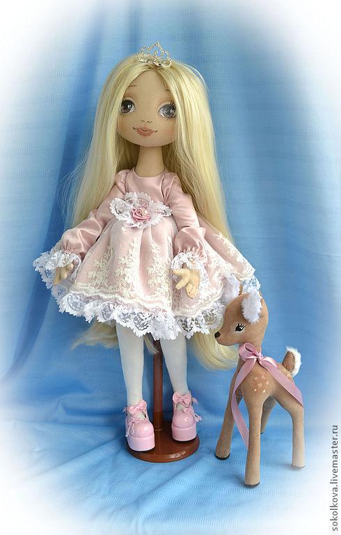 Коллекционные куклы ручной работы. Ярмарка Мастеров - ручная работа. Купить Кукла Ариша с оленёнком. Handmade. Кукла, пыльная роза