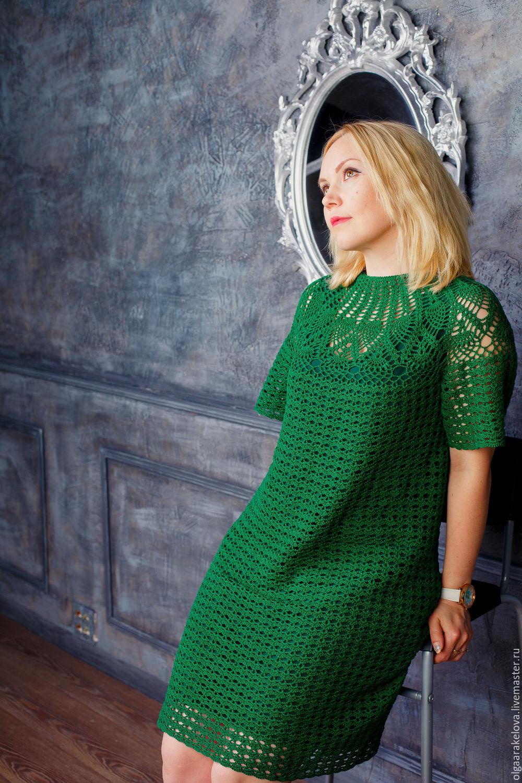 Вязание крючком зелёное платье 189