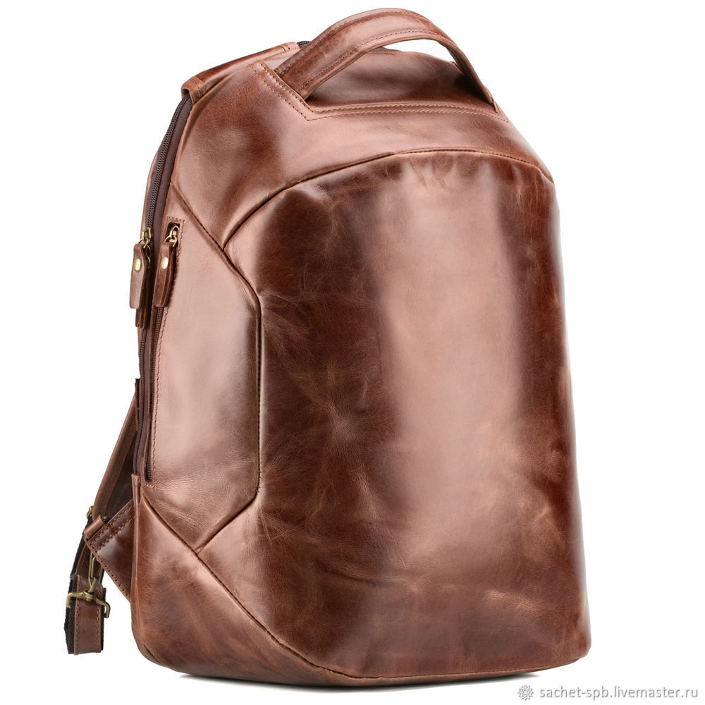 Leather backpack 'Poseidon' (brown antique), Men\\\'s backpack, St. Petersburg,  Фото №1