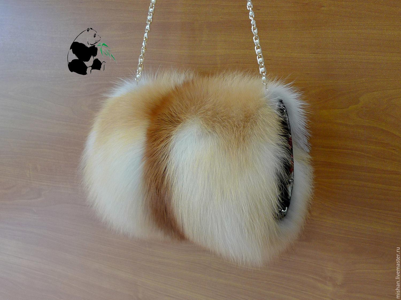 Fur Muff bag made from fur red Fox. Stylish ladies accessory, Clutch, Ekaterinburg,  Фото №1