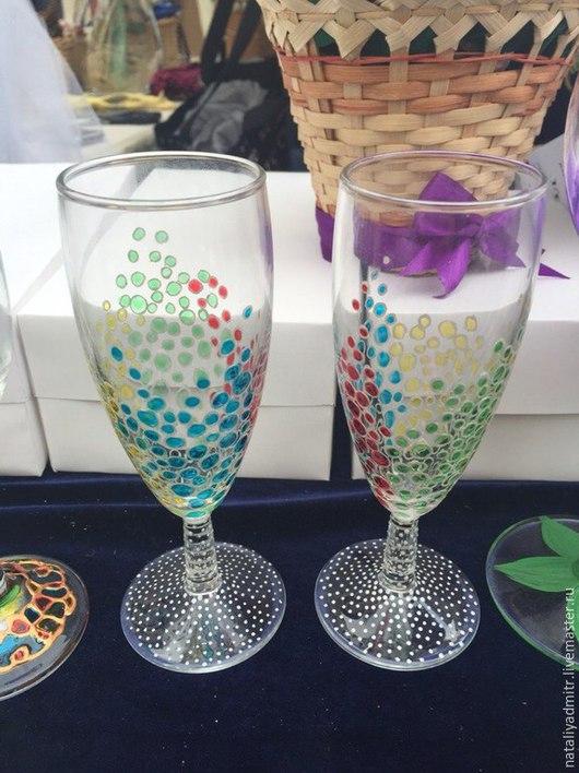 """Бокалы, стаканы ручной работы. Ярмарка Мастеров - ручная работа. Купить Бокалы """"Воздушная фантазия"""". Handmade. Разноцветный, бокалы для свадьбы"""