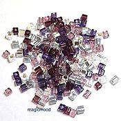 Материалы для творчества ручной работы. Ярмарка Мастеров - ручная работа Бисер Miyuki 3 мм куб микс 01 сирень Lilacs японский бисер Миюки. Handmade.