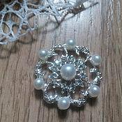Материалы для творчества handmade. Livemaster - original item !Scrapbooking. Decor-the buckle,brooch with rhinestone, ASTRA with pearls. Handmade.