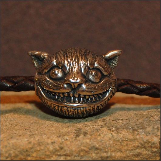 """Для украшений ручной работы. Ярмарка Мастеров - ручная работа. Купить Бусина """"Чеширский Кот"""". Handmade. Бусина, серебро, темляк"""