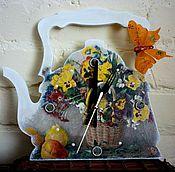 Часы ручной работы. Ярмарка Мастеров - ручная работа Часы ,,Чайник,,-декупаж с подставкой. Handmade.