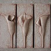 """Картины и панно ручной работы. Ярмарка Мастеров - ручная работа Барельеф из гипса """"Каллы"""". Handmade."""