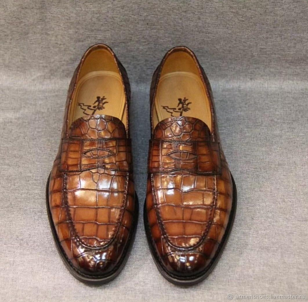 Men's loafers, crocodile leather, brown, Loafers, Tosno,  Фото №1
