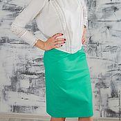 Одежда handmade. Livemaster - original item Pencil skirt made of stretch cotton turquoise. Handmade.