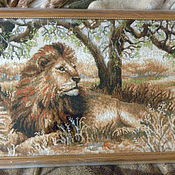 """Картины и панно ручной работы. Ярмарка Мастеров - ручная работа картина вышитая крестиком """"Лев"""". Handmade."""