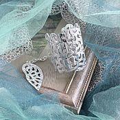 Украшения handmade. Livemaster - original item Leather bracelet Silver-white 2. Handmade.