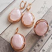 "Jewelry Sets handmade. Livemaster - original item Серебряный комплект ""Есения"" розовый кварц, серебро 925 пробы. Handmade."