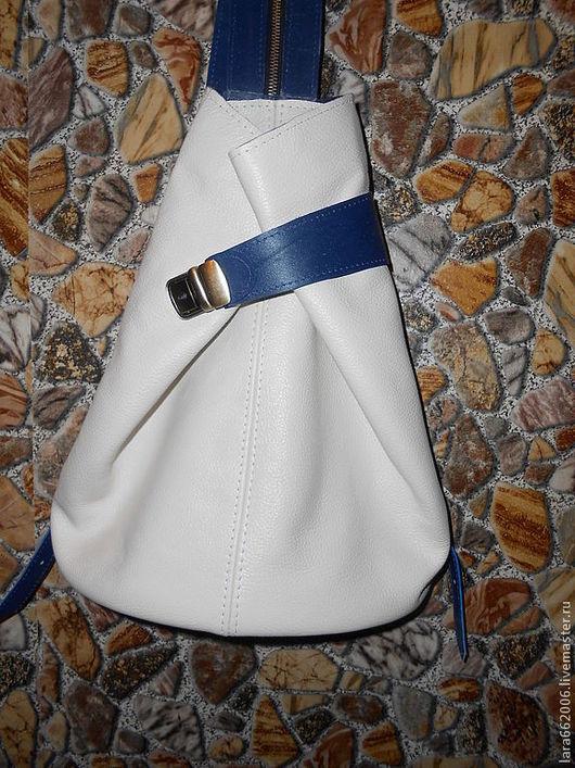 Женская сумка рюкзак из бежево-синей итальянской натуральной кожи, Сумка женская кожаная, сумка-рюкзак, 100% натуральная кожа, Lara & Ko