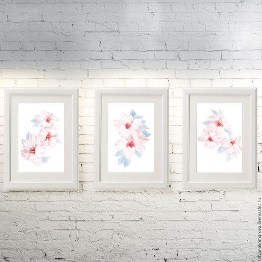 """Картины цветов ручной работы. Ярмарка Мастеров - ручная работа. Купить Картины акварелью """"Гибискус"""". Handmade. Бледно-розовый"""