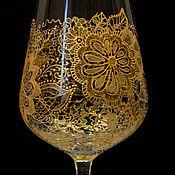 """Посуда ручной работы. Ярмарка Мастеров - ручная работа Бокал для вина  """"Золотые кружева"""". Handmade."""