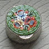 Винтаж ручной работы. Ярмарка Мастеров - ручная работа винтажная коробочка-таблетница с микромозаикой. Handmade.