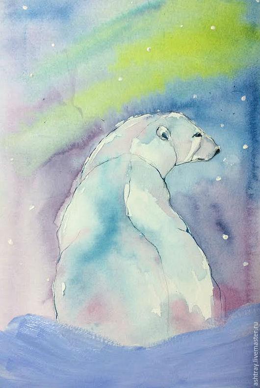 Животные ручной работы. Ярмарка Мастеров - ручная работа. Купить Северное сияние. Handmade. Мятный, белый медведь, акварельная картина