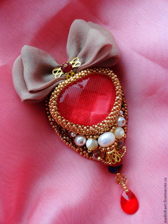 Brooch the Fire of my Heart With silk bow and ruby, Brooches, St. Petersburg,  Фото №1