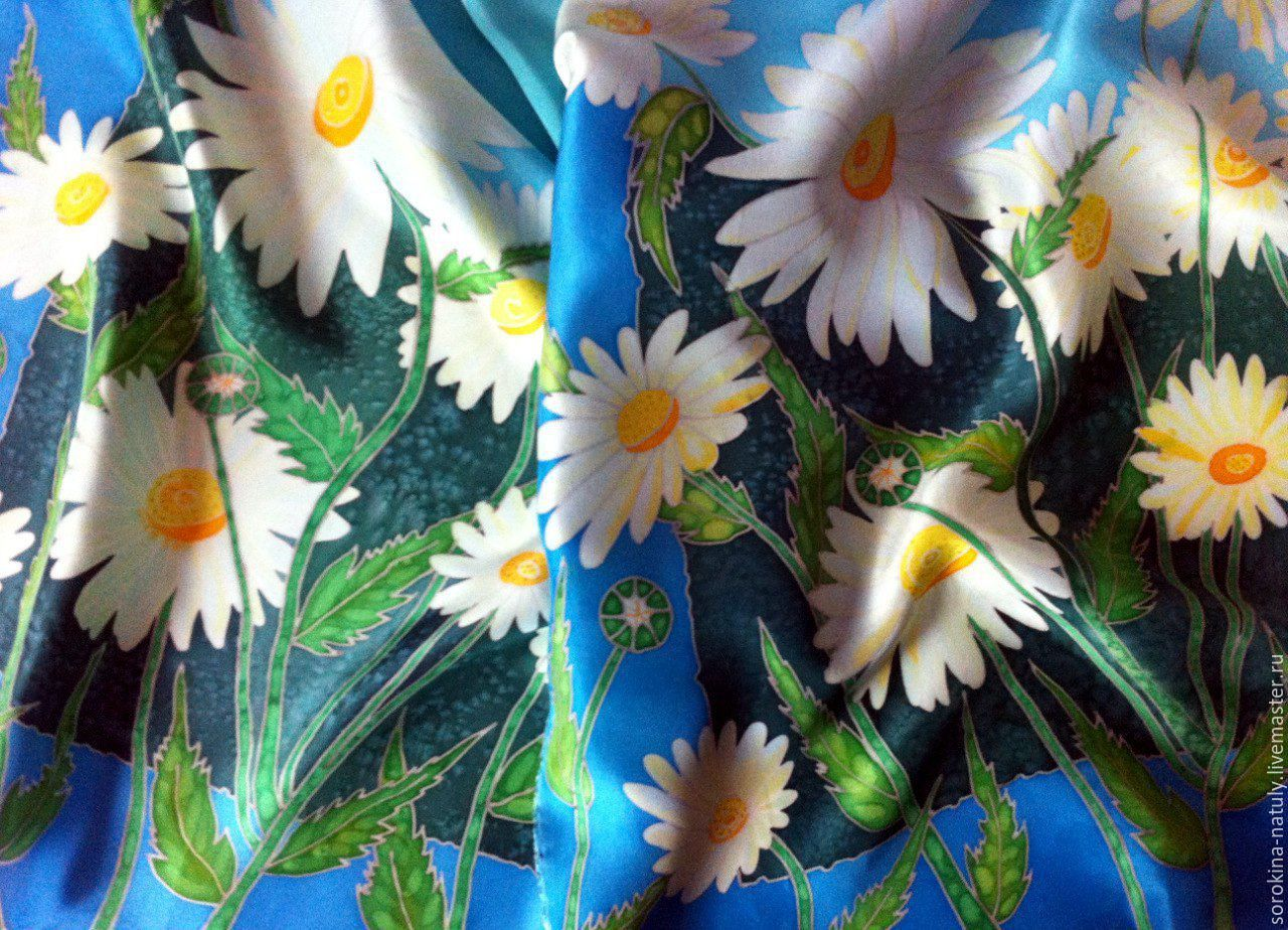 Batik Stole `Daisy field`.Original painting on 100% natural silk. The tactile sensation of touching the ineffable accessory !!! For You with Love !!!