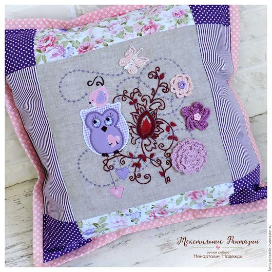 Текстиль, ковры ручной работы. Ярмарка Мастеров - ручная работа. Купить Подушка декоративная текстильная, пэчворк, аппликация. Handmade. Подушка