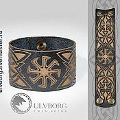Русский стиль ручной работы. Ярмарка Мастеров - ручная работа Кожаный браслет с обережным символом. Handmade.