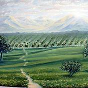Картины и панно ручной работы. Ярмарка Мастеров - ручная работа Виноградники в горах - пейзаж картина маслом. Handmade.
