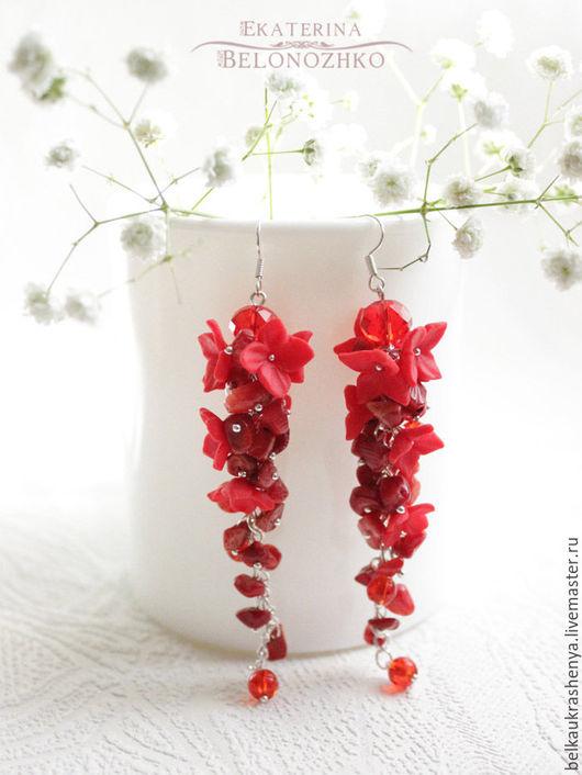 Серьги ручной работы. Ярмарка Мастеров - ручная работа. Купить Серьги Красный коралл. Handmade. Ярко-красный, пылкий, девушка