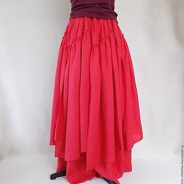 Одежда ручной работы. Ярмарка Мастеров - ручная работа Льняная юбка длинная с клиньями в стиле бохо,алый лен. Handmade.
