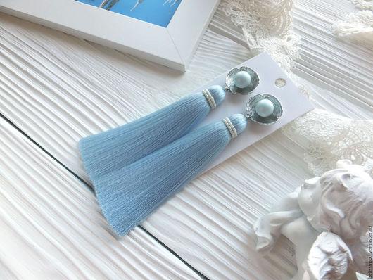 """Серьги ручной работы. Ярмарка Мастеров - ручная работа. Купить Серьги - кисти """"Pastel blue"""". Handmade. Серьги, серьги кисточки"""