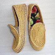 Обувь ручной работы. Ярмарка Мастеров - ручная работа Мокасины вязаные, беж, хлопок. Handmade.