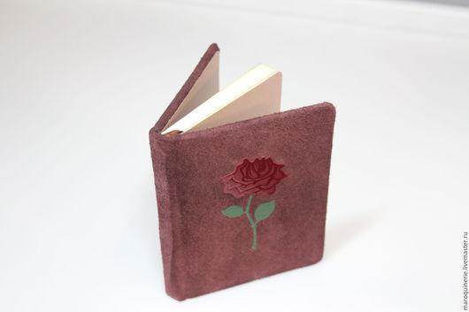 """Блокноты ручной работы. Ярмарка Мастеров - ручная работа. Купить Блокнот из кожи """"Роза"""". Handmade. Коричневый, блокнот для девушки, бургунди"""