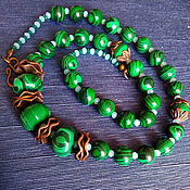handmade. Livemaster - original item Necklace: Vintage-style malachite necklace. Bronze in green.. Handmade.