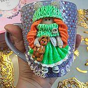 Кружки ручной работы. Ярмарка Мастеров - ручная работа Кружка с декором из полимерной глины. Handmade.