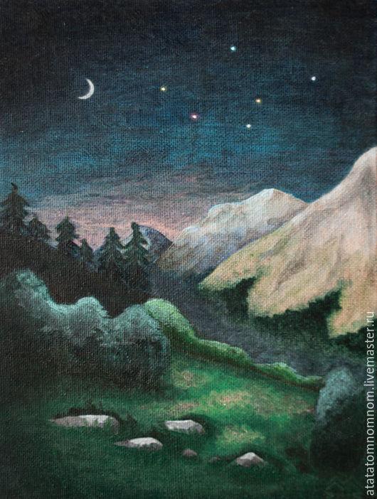 Картина `Ночь в горах`, холст, акрил, 18х24 см