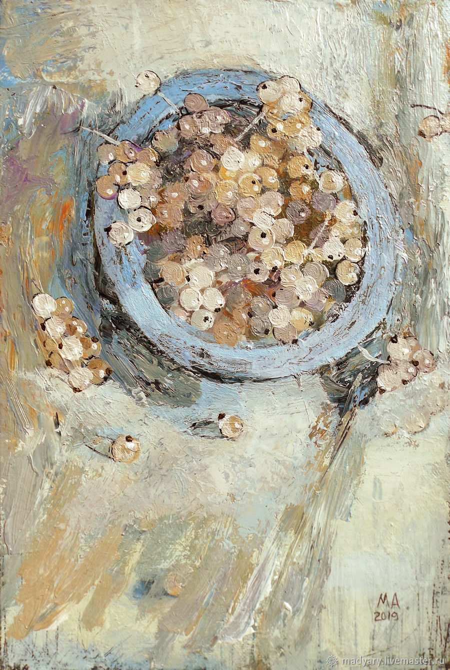 Still life on canvas Currant (blue, sand, berries), Pictures, Smolensk,  Фото №1