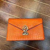 Сумки и аксессуары handmade. Livemaster - original item Clutch from the abdomen of the crocodile, exclusive orange color!. Handmade.